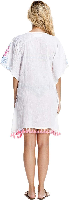 La Moda Clothing Multi Colored Printed Short Luxury Kaftan Resort Wear /& Beach Cover Up by GOGA Swimwear