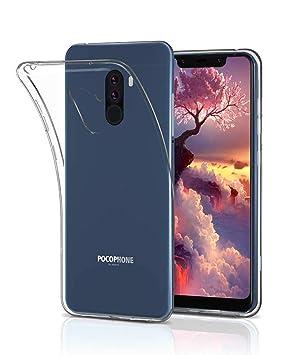 UCMDA Funda Xiaomi Pocophone F1, Carcasa Xiaomi Pocophone F1 con Protector de Pantalla, Fundas Transparente Suave TPU para Xiaomi Pocophone F1 ...