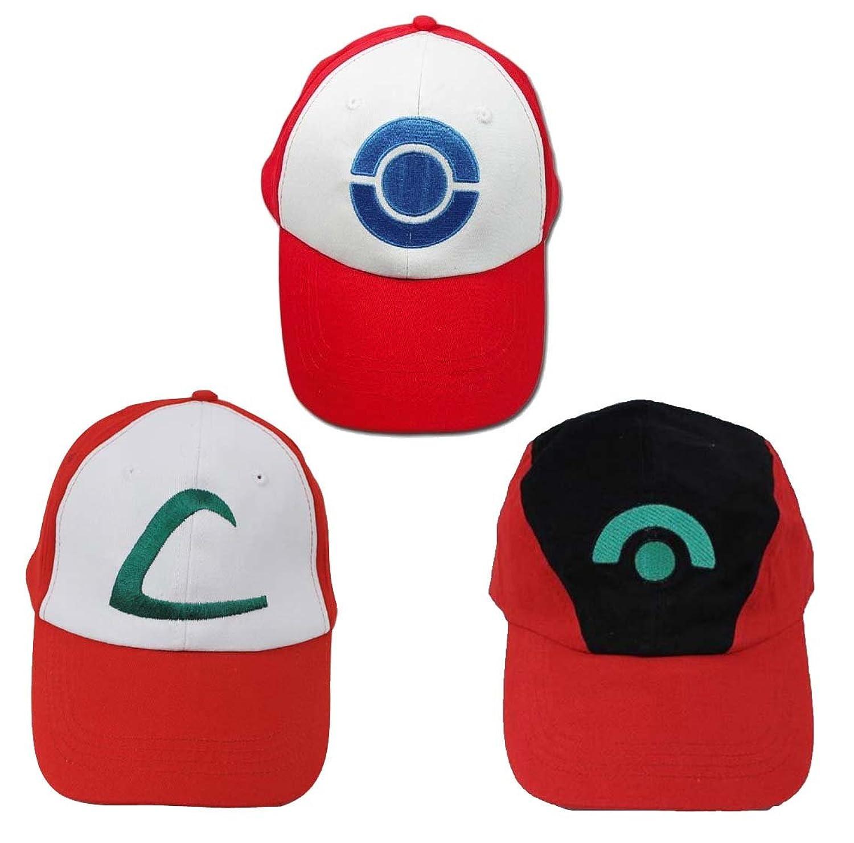amazon com ash ketchum hat 3 caps a set cosplay accessory