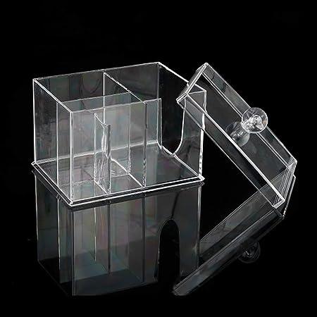 Rotekt - Soporte Transparente para bastoncillos de algodón, Caja de Almacenamiento, Organizador Antipolvo con Tapa: Amazon.es: Hogar
