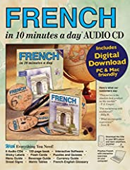 FRENCH in 10 minutes a day AUDIO CD: Language course for beginning and advanced study. Includes Workbook, Flas