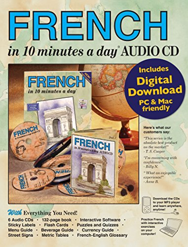 FRENCH in 10 minutes a day AUDIO CD: Language course for beginning and advanced study.  Includes Workbook, Flash Cards, Sticky Labels, Menu Guide, ... Grammar.  Bilingual Books, Inc. (Publisher) by Brand: Bilingual Books, Inc.