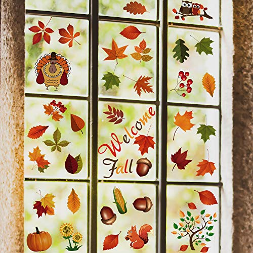 Tinabless Fall Leaves Window Clings, 80PCS Thanksgiving Maple Decorations, Fall Autumn Leaves Acorns Window Sticker, Maple Decorations Autumn Decals Harvest Party Decor Ornaments