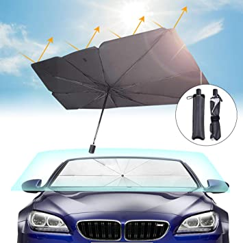 Car Windshield Sun Shade Umbrella Foldable Car Front Windshield Sunshade Window Cover UV Rays and Heat Sun Visor Protector 57 x 31 Large Size Black