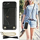 iPhone 8 Plus Wallet Case, LAMEEKU iPhone 7 Plus Case Leather with Credit Card Holder Slot, Protective Cover with Crossbody Chain Strap Wrist Strap for Apple iPhone 7 Plus/8 Plus 5.5' Black