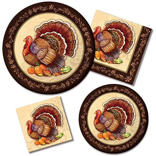 Tableware Kit for 16 Guests, Paper Plates and Napkins, Thanksgiving Splendor (Paper Plates Thanksgiving)