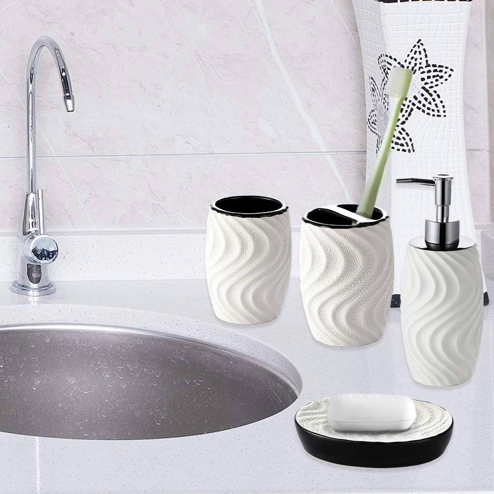 Alce JOTOM Design Moderno Set di Accessori da Bagno Ceramica da 4 Pezzi Set di Accessori da Bagno di Lusso Set Bottiglia di Lozione da Bagno Tazza Spazzolino Portasapone Coppa del Dente