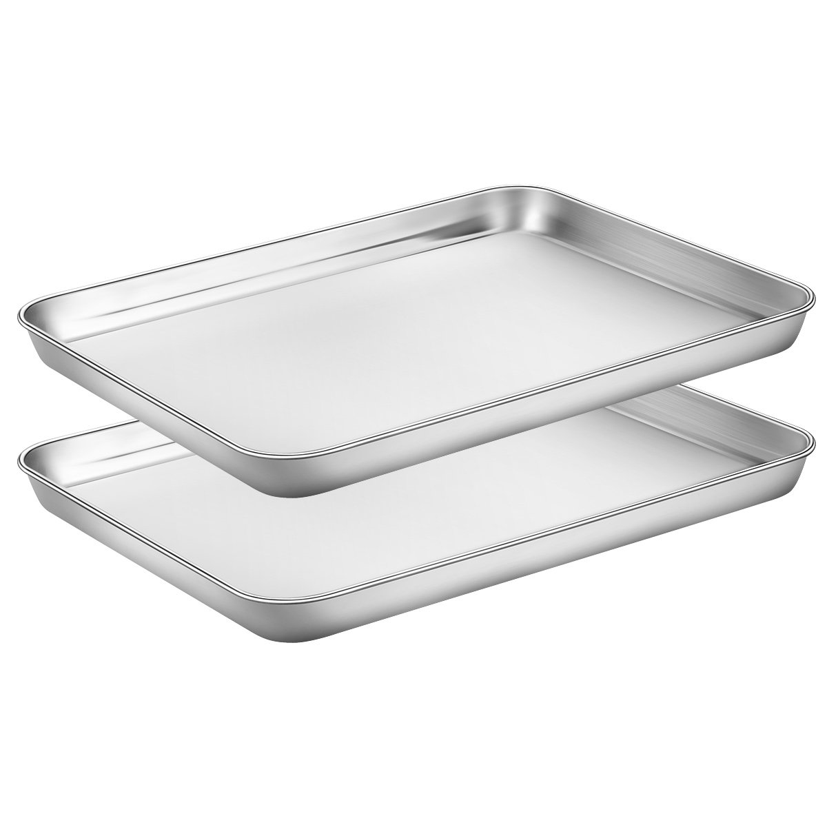 Baking Sheets Set of 2, HKJ Chef Cookie Sheets 2 Pieces & Stainless Steel Baking Pans & Toaster Oven Tray Pans, Rectangle Size 9L x 7W x 1H inch & Non Toxic & Healthy & Easy Clean