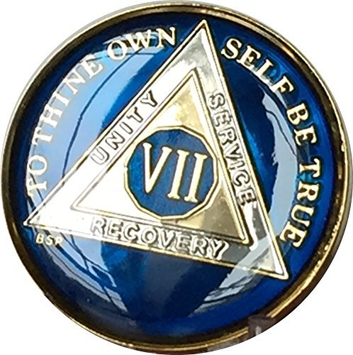 - 7 Year Midnight Blue AA Alcoholics Anonymous Medallion Chip Tri Plate Gold & Nickel Plated Serenity Prayer