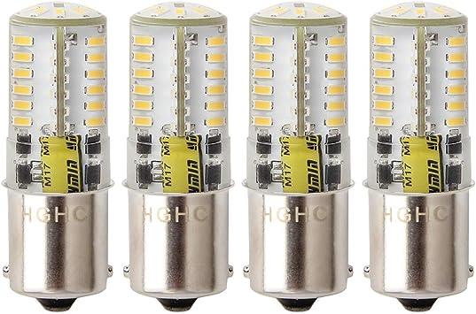 Pack of 4 HGHC LED 5W Ba15s Bulb AC//DC 12V 1156 1141 LED Light Warm White 3000K 4014 SMD Single Contact Bayonet SBC for Car RV Trailer Camper Boat Yard Interior Light Landscape Lighting.