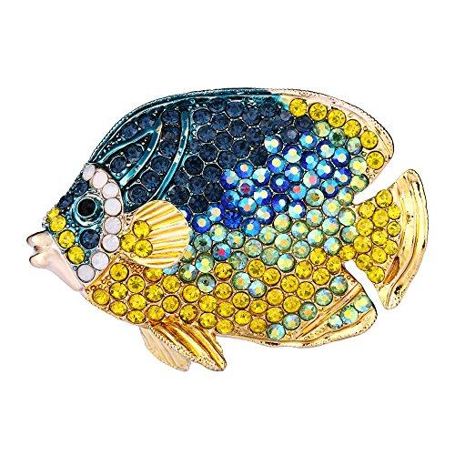 EVER FAITH Austrian Crystal Enamel Party 3D Tropical Fish Animal Brooch Blue w/Yellow - Pin Fish Crystal