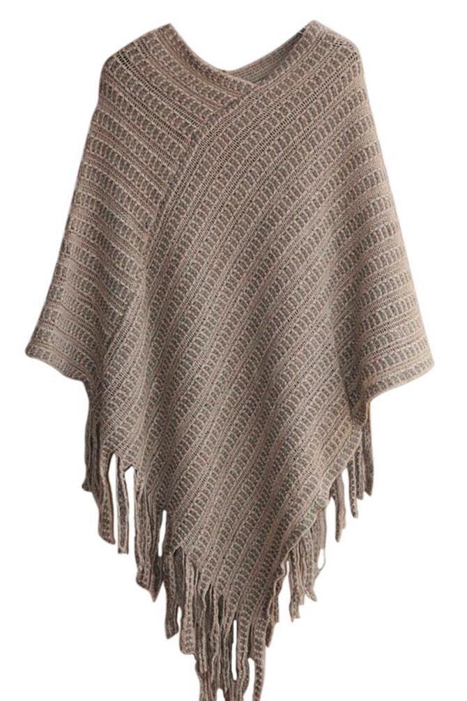 NOVAWO Womens Elegant Tassel Poncho Cape Shawls Batwing Knit Sweater Cloak (Khaki)