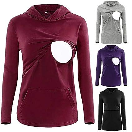 ee5c91822e1 Nacome Women s Long Sleeve Nursing Tops Breastfeeding Hoodie Clothes  Maternity Shirt Kangaroo Pocket (Black