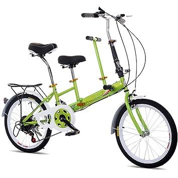 SHIOUCY Bicicleta Plegable 20 Pulgadas, para Adultos, niños, Viaje, 2 Asientos, Plegable, Verde: Amazon.es: Deportes y aire libre