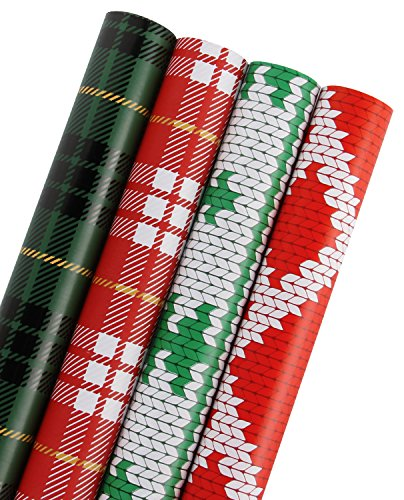 WRAPAHOLIC Gift Wrapping Paper - Plaid, Knit Heart, Knit Tree Design for Gift Wrap - 4 Rolls - 30 inch X 120 inch Per - Great Flannel Outdoors Print