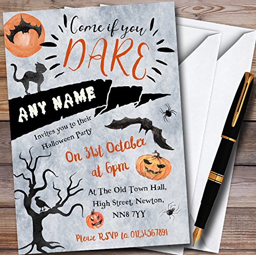 Come If You Dare Scary Night Personalized Halloween Party Invitations by The Card Zoo