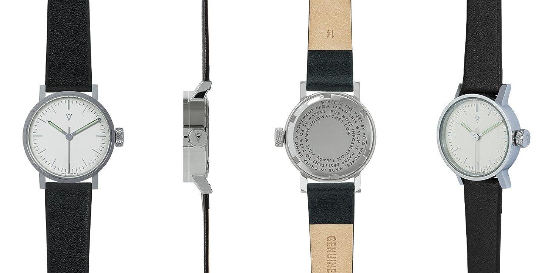 VOID V03P Silber - Weiß - Schwarz Damenuhr Lederarmband Petite designed by David Ericsson