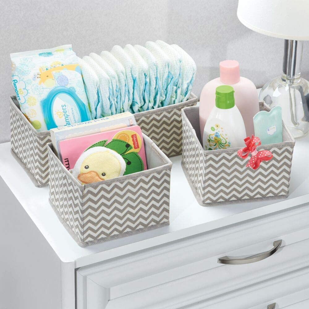 Nursery Set of 3 Playroom Organizing Bins in 2 Sizes Bedroom Chevron Zig-Zag Print Taupe//Natural mDesign Soft Fabric Dresser Drawer and Closet Storage Organizer for Kids//Toddler Room