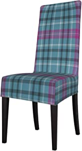Teal Blue Pink Plaid Pattern Dining Room Chair Slipcovers Dining Chair Covers Protector Kitchen Stretch Armless High Back Chair Seat Covers for Dining Room Set of 6 Removable Washable