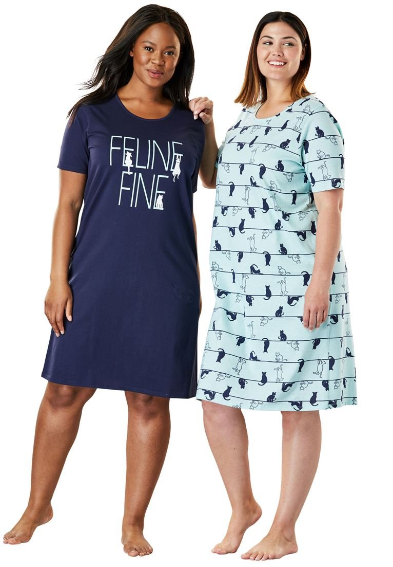 Dreams & Co. Women's Plus Size 2-Pack Sleepshirt