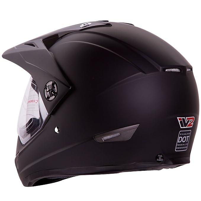 Amazon.com: Flat Black Dual Sport Atv Utv Motocross Street Bike Hybrid Helmet DOT (M): Automotive