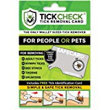 TickCheck Tick Remover Card - Wallet Sized Tick Removal Tool with Free Tick ID Card & Testing Information - for People, Dogs,