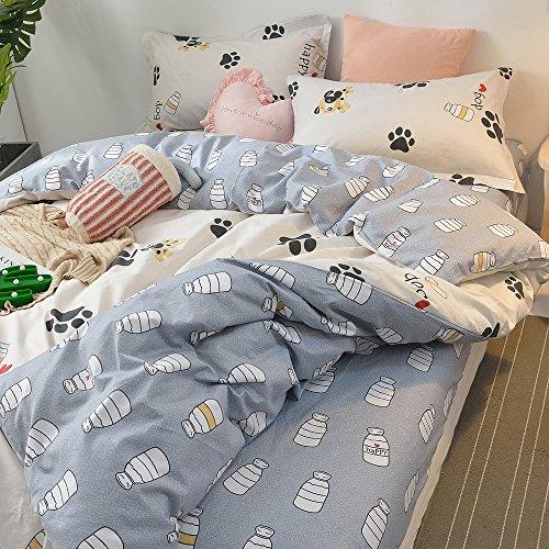 BHUSB Cute Kids Cartoon Cotton Duvet Cover Queen Set Dog Paw Print 3 Piece Animal Bedding Sets Full White Gray Boys Girls Teens Bedding Collection Hidden Zipper,4 Corner Ties by BHUSB (Image #5)