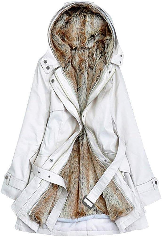 Donna Parka Elegante Moda Sciolto Casual Invernali Autunno Mantello con Cappuccio Giovane Ecopelliccia Foderato Puro Colore Cintura Inclusa Chiusura A Cerniera Cappotto Giubbino
