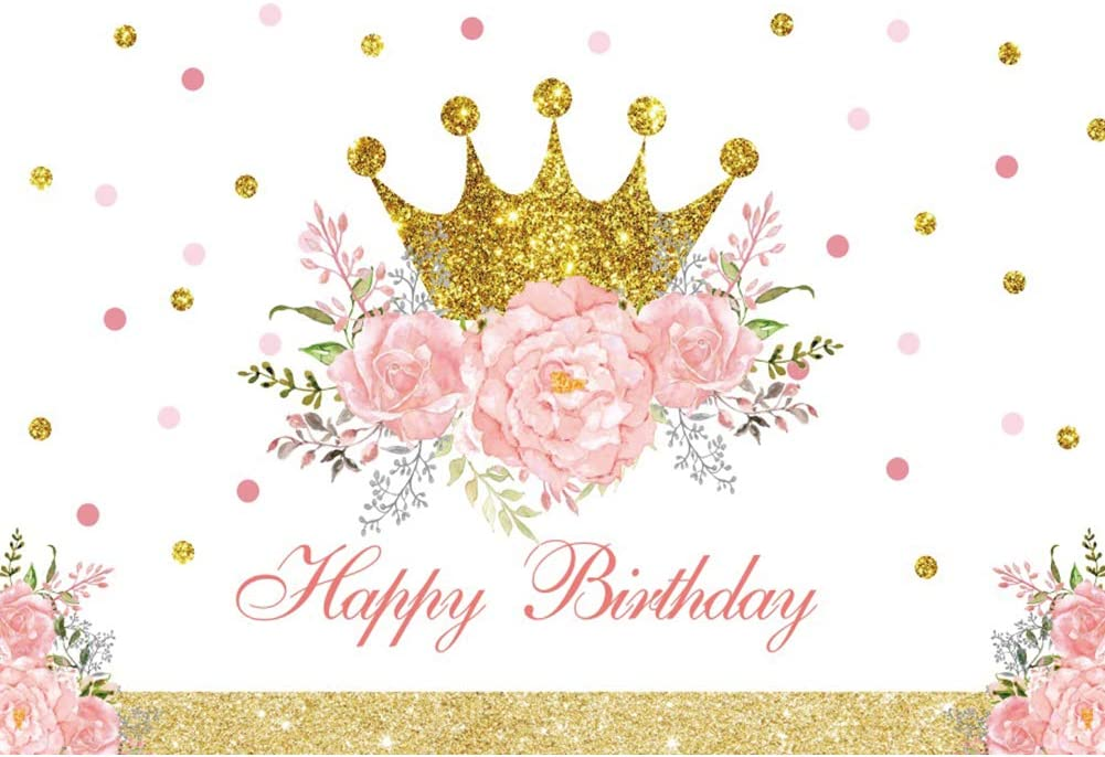 Yeele Floral Princess Birthday Backdrop Golden Crown 10x8ft Kids Bday Photography Backdrop Club Events Kids Adults Artistic Portrait Kids Acting Show Photo Booth Photoshoot Props Wallpaper