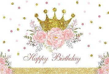 DORCEV 10x8ft Sweet 16 Happy Birthday Backdrop for 16th Princess Theme Girls Birthday Party Background White Princess Crown Luxury Diamond Theme Sweet Pink Banner Girls Princess Photo Studio Props