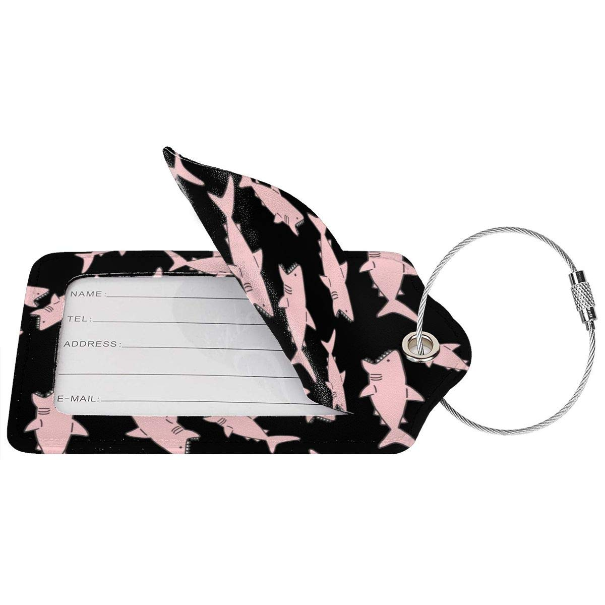 Pink Shark Leather Luggage Tags Personalized Suitcase Tag With Adjustable Strap
