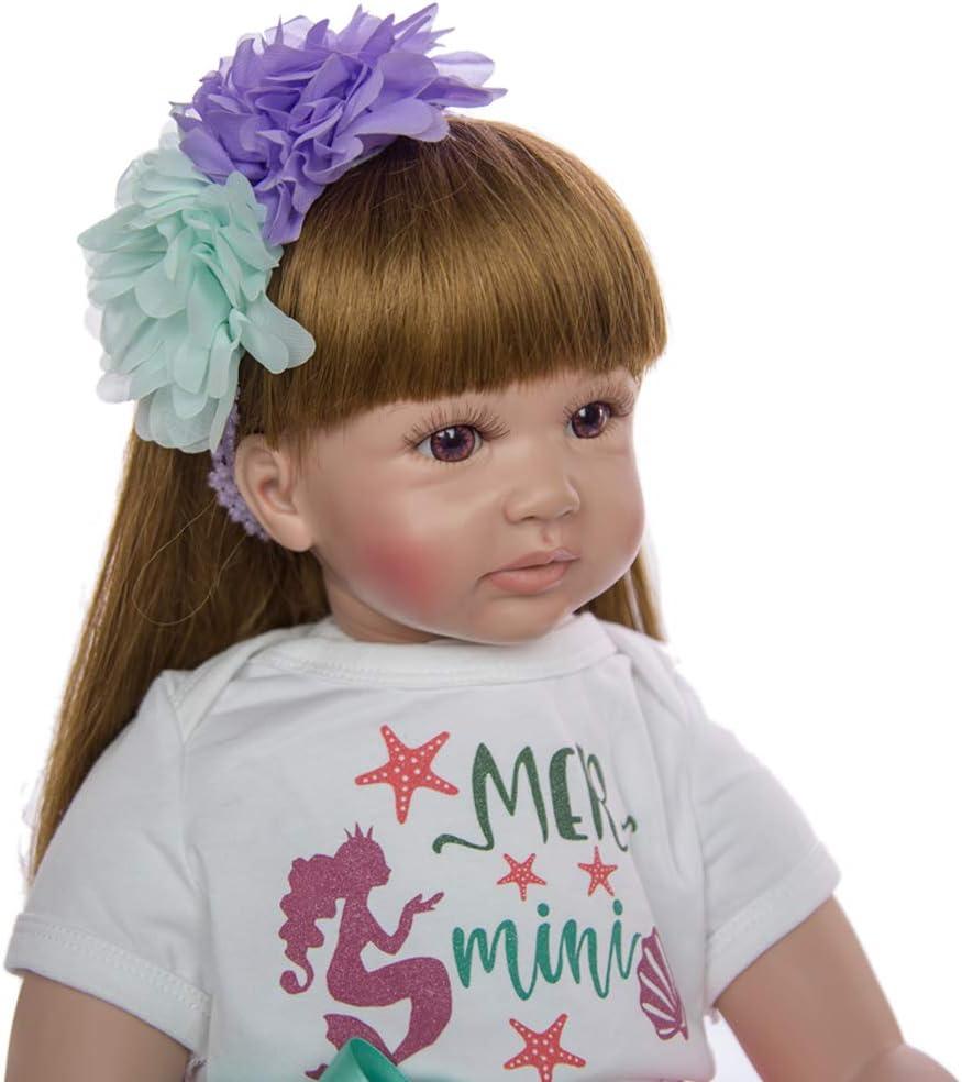 Cenphua 24 Zoll 60 cm Weichen Silikontuch K/örper Reborn Kleinkind Babypuppe Realistisch Neugeborene Puppen Baby M/ädchen Prinzessin Lange Haare B