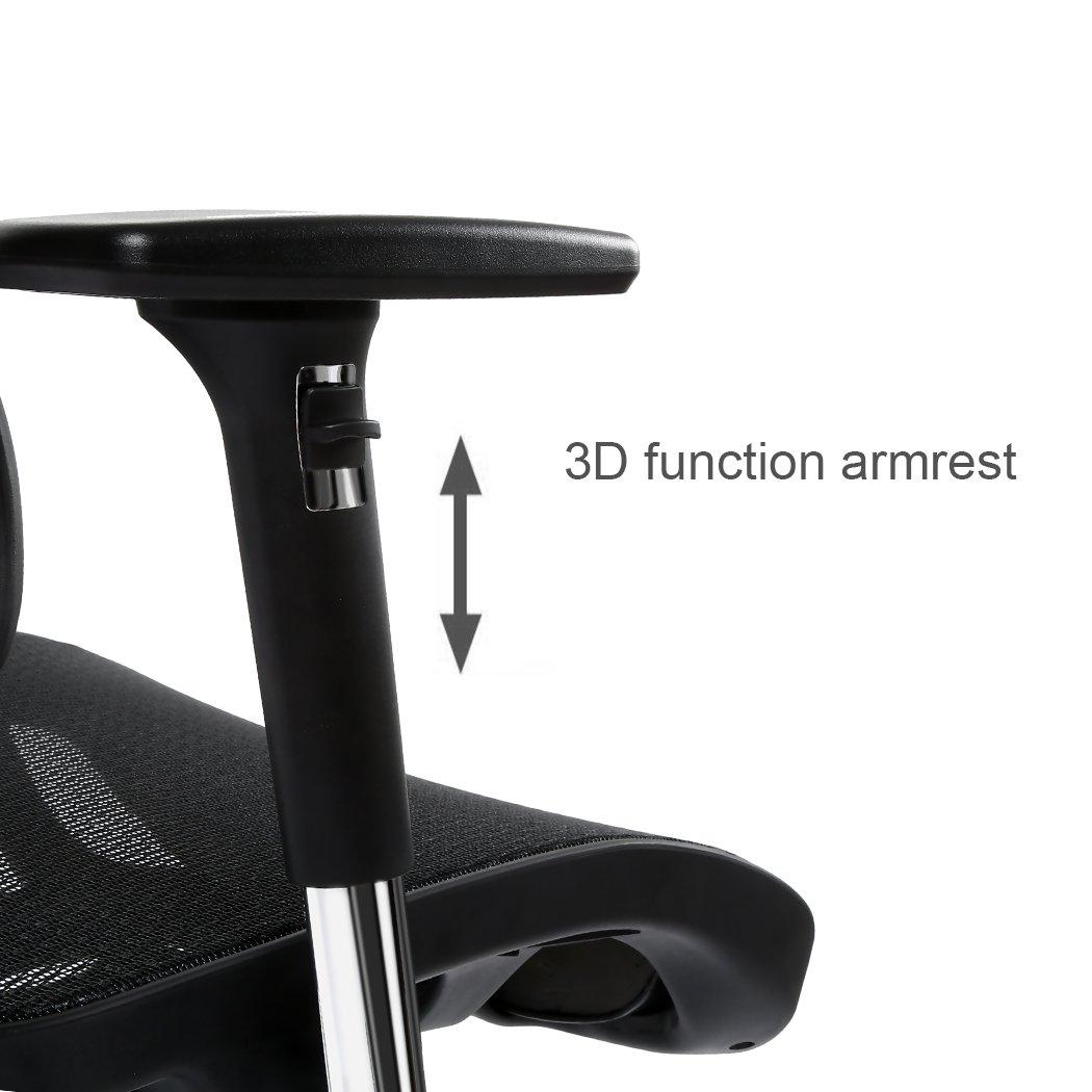 Ergonomic High Back Mesh Office Chair - SIEGES Adjustable Headrest, 3D Flip-up Arms, Back Lumbar Support Computer Desk Task Executive Chair, Black