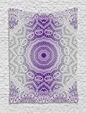 Ambesonne Grey and Purple Tapestry, Ombre Mandala Abstract Eastern Religious Art with Art Holy Cosmos Design, Wall Hanging for Bedroom Living Room Dorm, 60 W x 80 L Inches, Violet