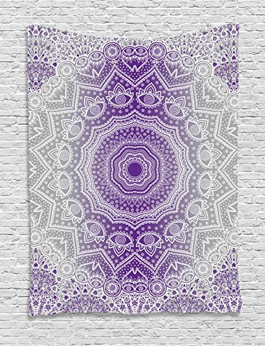 Ambesonne Grey and Purple Tapestry, Ombre Mandala Abstract Eastern Religious Art with Art Holy Cosmos Design, Wall Hanging for Bedroom Living Room Dorm, 60 W x 80 L Inches, Violet by Ambesonne
