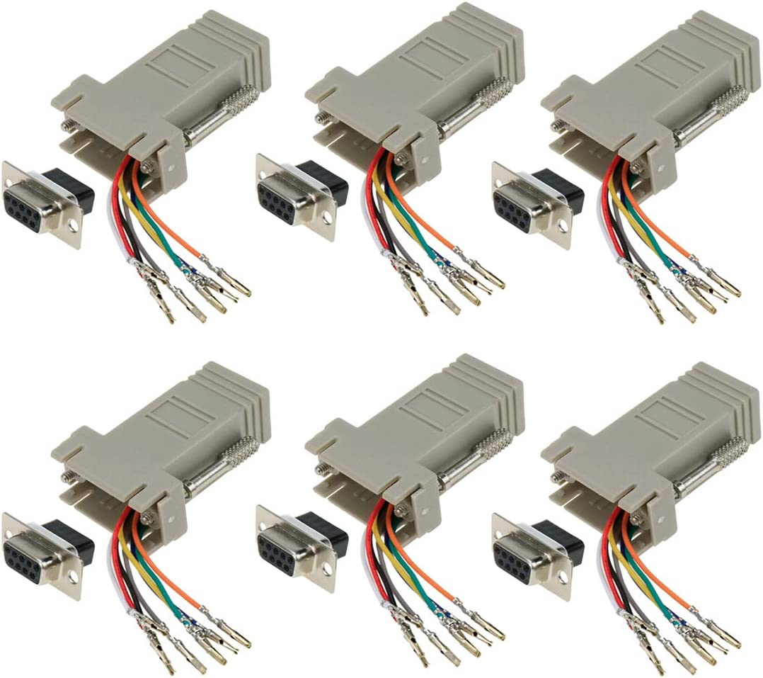 Modular Adapter 50 Pack GOWOS DB9 Male to RJ45 Jack Black