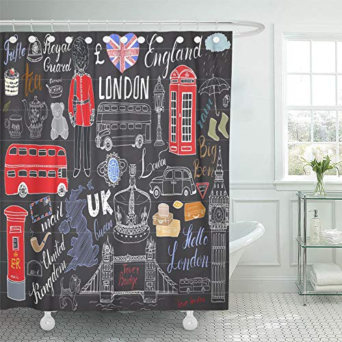 Emvency Decorative Shower Curtain London City Doodles Collection with Tower Bridge Crown Big Ben Royal Guard Red Bus 66