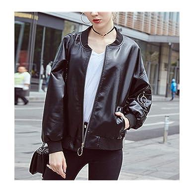 76d7d0bc1f80 Amazon.com  Pu Faux Leather Jackets Women Classic Loose Bomber Lady Coat  Spring Autumn Baseball Jacket Black  Clothing
