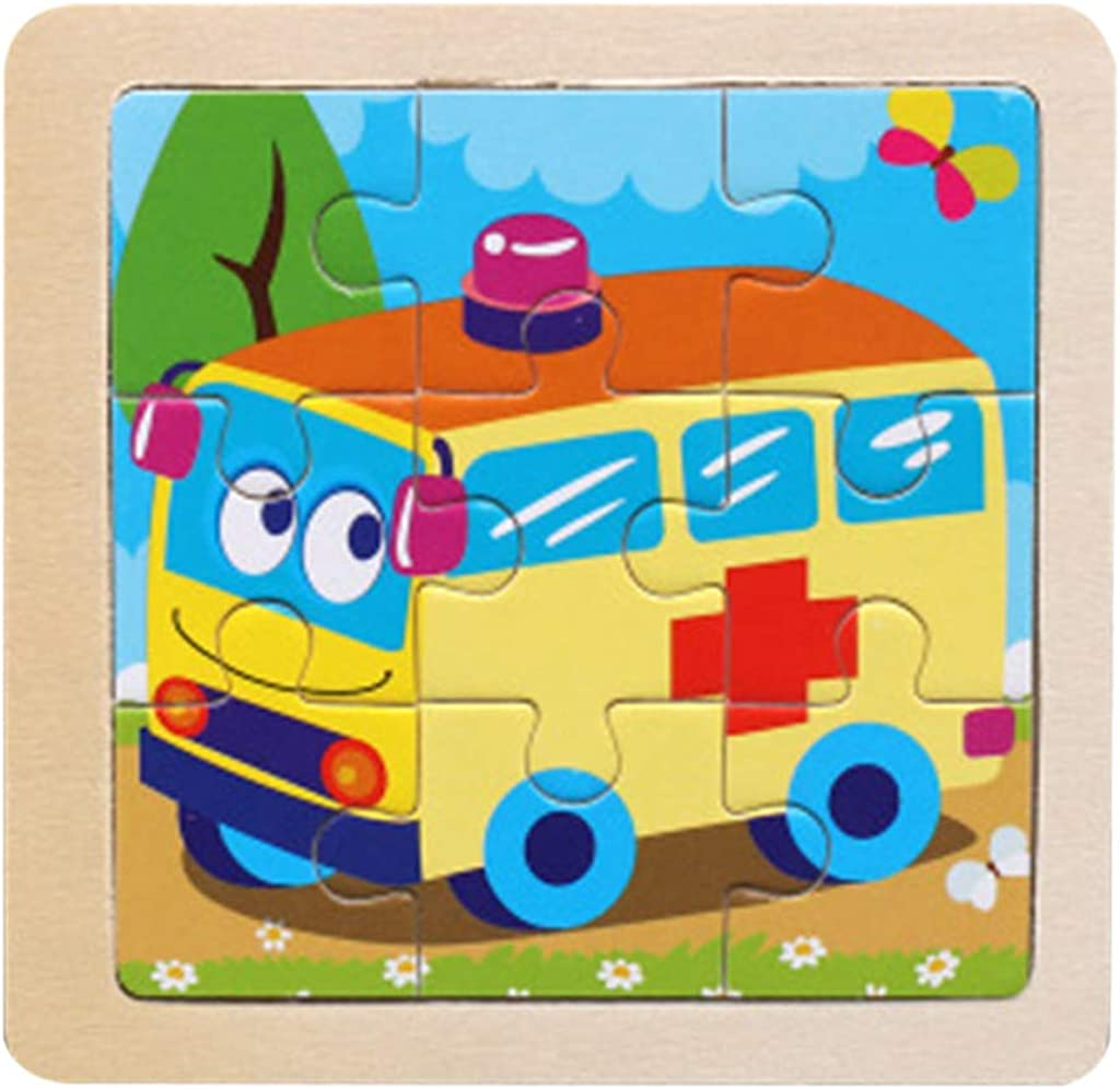 DIGOOD 8Pcs Wooden Animal Block Puzzle Jigsaw Educational Brain Teasers Toys for Baby Kids