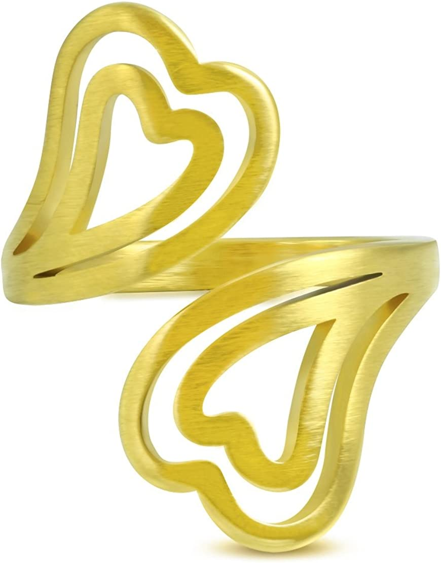 Stainless Steel Gold Color Plated Matte Finished Spiral Concentric Open Love Heart Fancy Ring