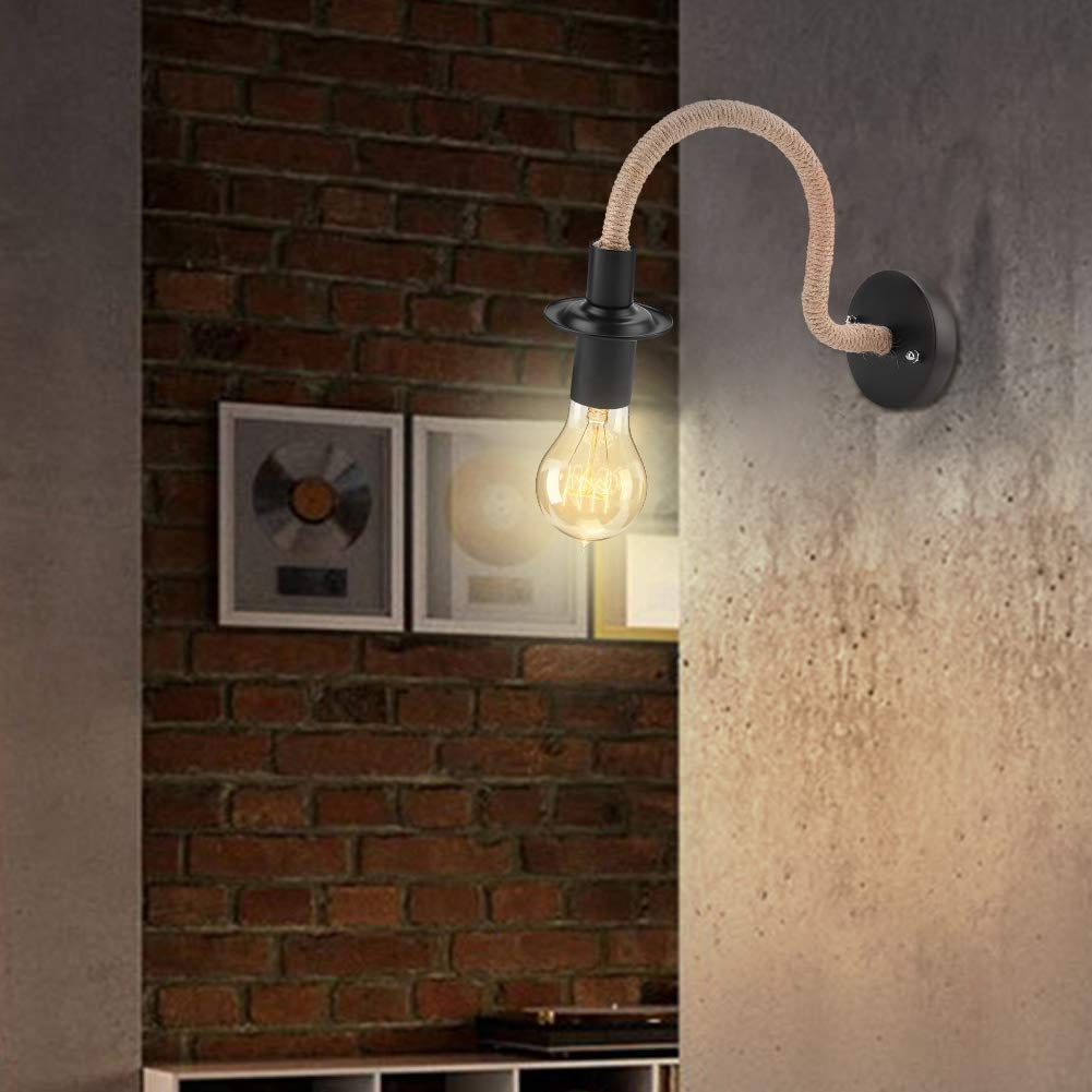 Iron Wall Sconce Lamp Retro Style AC85-265V Indoor Iron Wall Sconce Lamp Light with E27 Sockets for Home Hallway Coffee Industrial Looking Decor