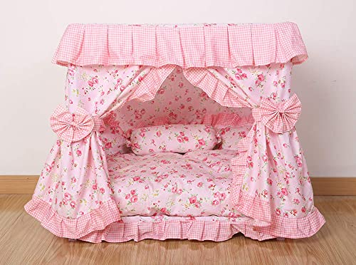 Kolachic Princess Pink Flower Floral Pet Dog Cat Handmade Bed House 1 Candy Pillow Canopy