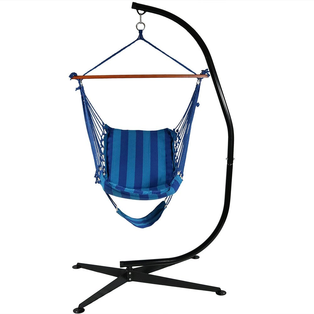 Sunnydaze Hanging Padded Soft Cushioned Hammock Chair with Footrest and C-Stand, 26 Inch Wide Seat, Max Weight: 300 Pounds, Beach Oasis