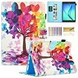 Galaxy Tab A 8.0 Case, SM-T350 Case, Dteck(TM) Cute Cartoon Flip Stand Wallet Case with [Card Money Slots] Protective Synthetic Leather Cover for Samsung Galaxy Tab A 8.0 inch, Buterfly Tree