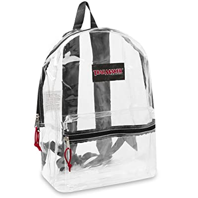 "17"" Trailmaker Backpack Bookbag, Clear with Colored Trim"