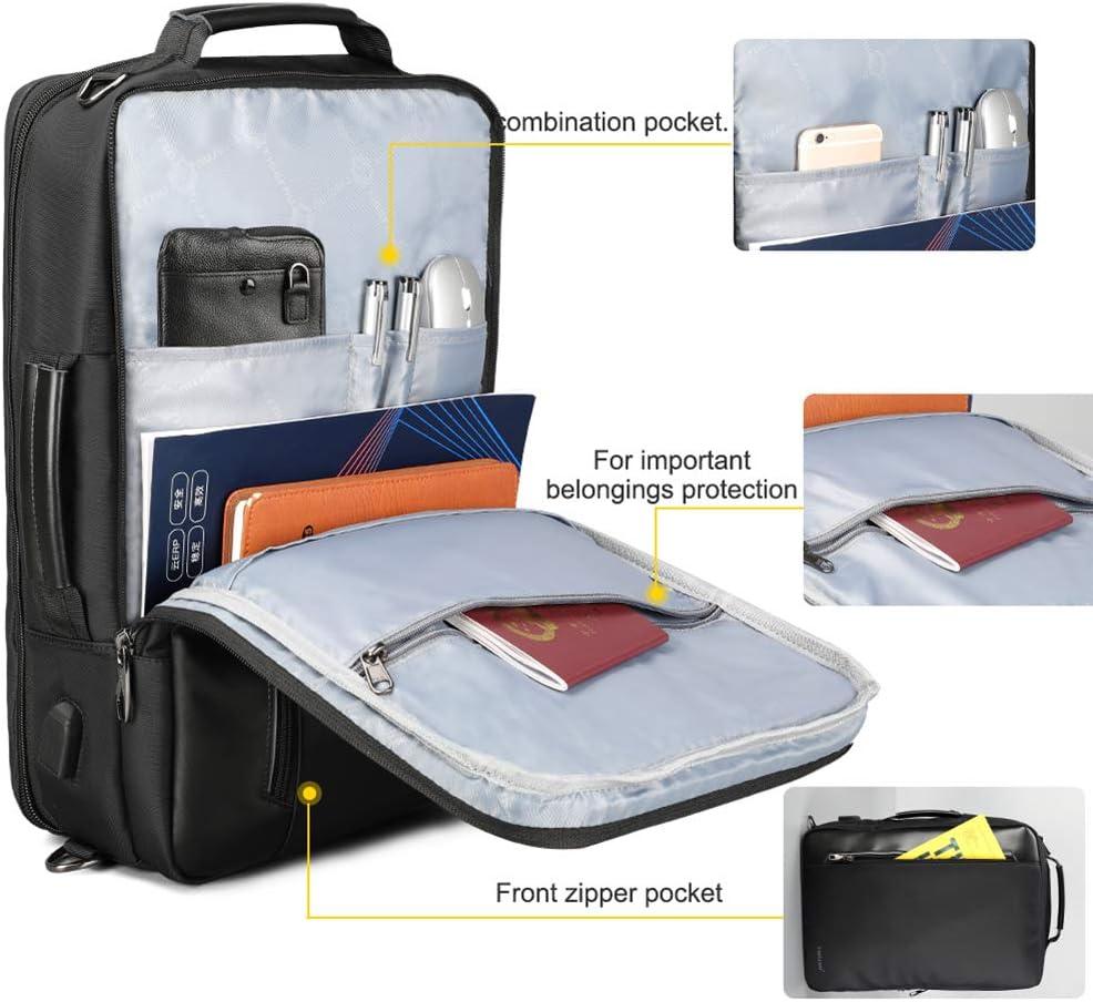 LJFG Backpack 4 in 1 Multi Function Nylon Mens Business Shoulder Rucksack 15.6 inch USB Charging Laptop Bagpack Male Mochila Travel,Black