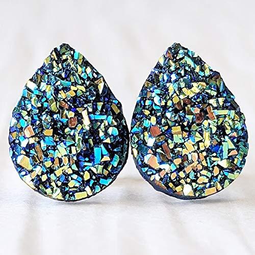 Green Gold Tear Drop Resin Druzy on Titanium Stud Earrings - Hypoallergenic Posts