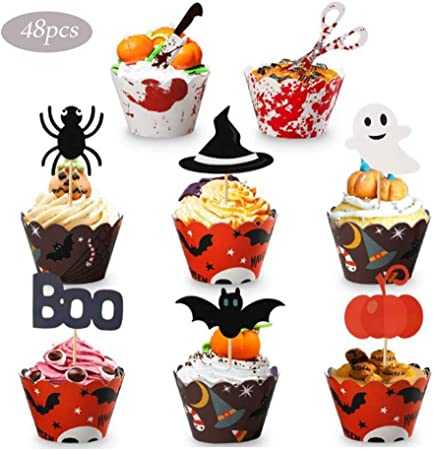 Meishang Halloween Cupcake Deko Halloween Cupcake Toppers Wrapper Halloween Decor Halloween Cupcake Wrappers Picks Ghost Spinne Fledermaus Halloween Papier Cupcake Topper Amazon De Kuche Haushalt