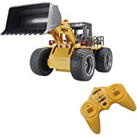 fisca RC Wheeled Front Loader Remote Control Bulldozer Truck 6 Channel 2.4G Vehicle Tractor Toy with Lights