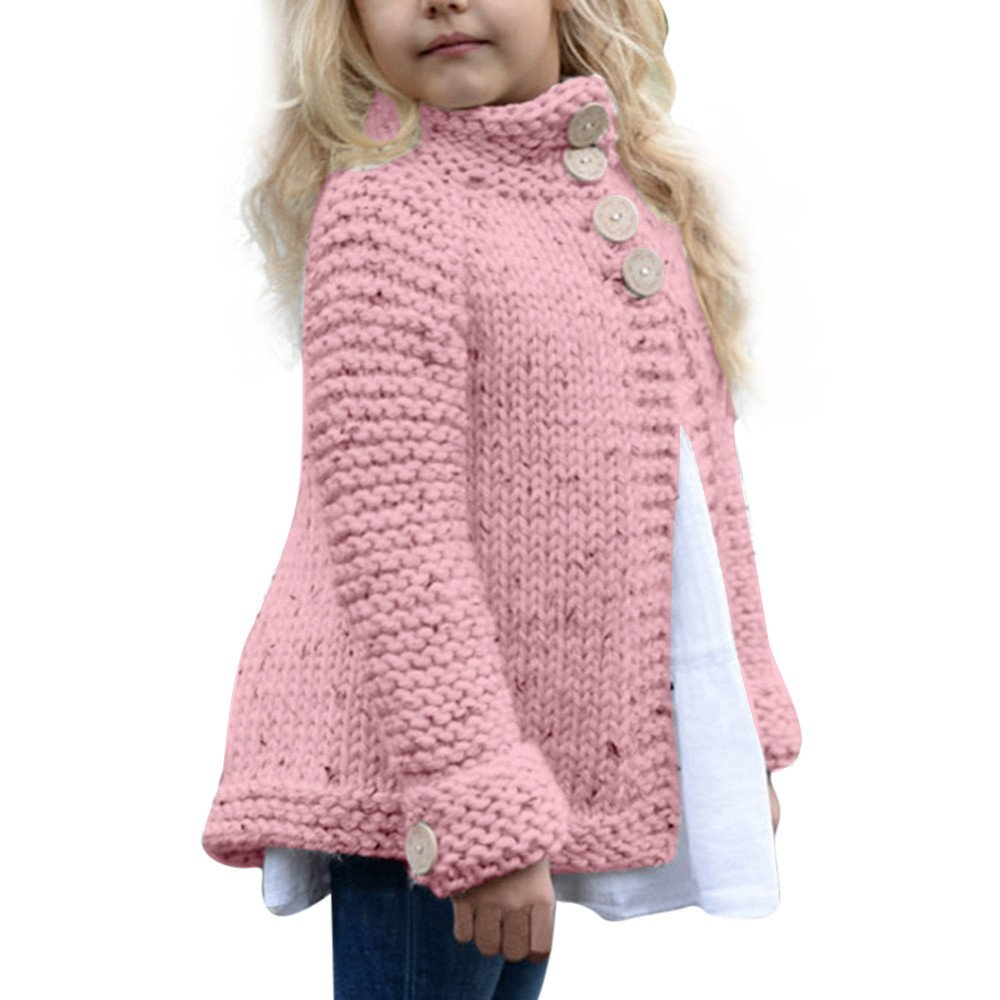 FEITONG Toddler Kids Baby Girls Outfit Clothes Button Knitted Sweater Cardigan Coat Tops (Pink, 3-4T)